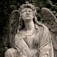 Sadness - angel statue in sepia