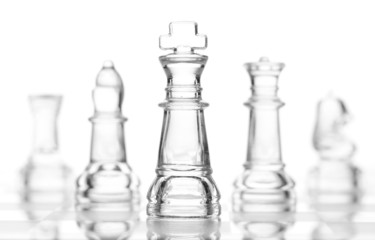transparent glass chess