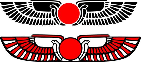 Ägyptische Sonne mit Flügeln & Uräusschlangen