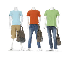 mannequin dressed in jeans with colorful t-shirt