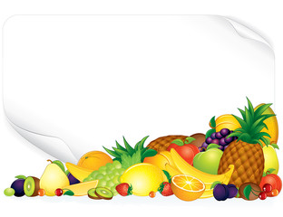 Blank Paper Poster with Ripe Tropical Fruits
