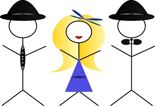 Two men and a woman - blonde