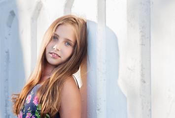 beautiful girl on background wall