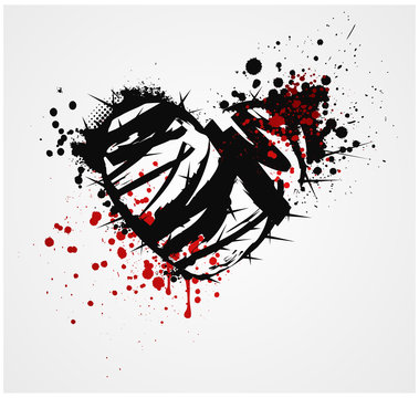 Black grunge heart with thorns