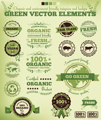 Green nature ecology vector elements vintage style