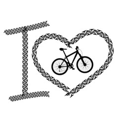 Print of I love bicycle made of tire track