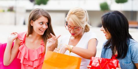 Girlfriends Talking After Shopping
