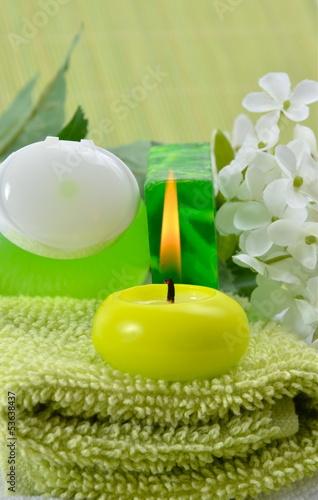 Wellness bilder grün  Wellness Grün Kerzen Seife