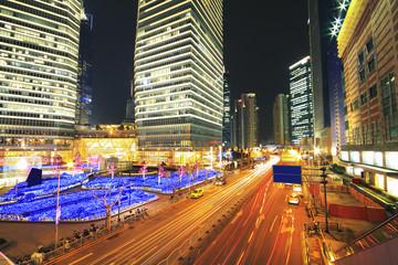 Shanghai Lujiazui highway at night