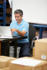 Worker In Distribution Warehouse Using Laptop