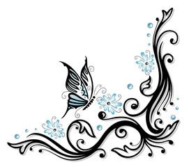 Ranke, floral, Blumen, Blüten, butterfly, blue