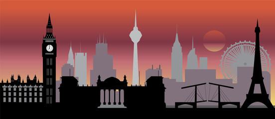 In de dag Doodle world skyline