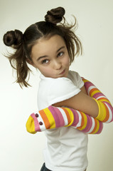 toy snake hugging a girl
