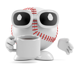 Baseball drinks a cup of coffee