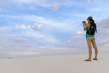 Tourist Girl Taking Pictures - White Sands New Mexico