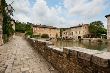 Old thermal baths in the medieval village Bagno Vignoni