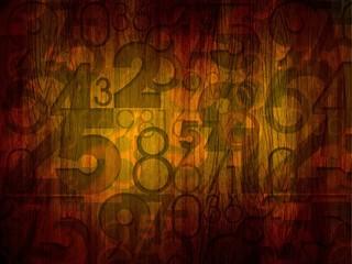 dark numbers on wood