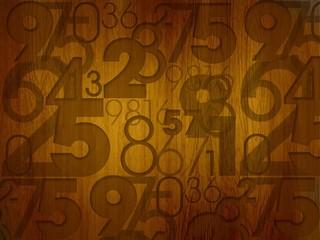 random numbers on wooden desk