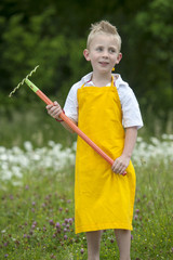 gardening, cute little boy with rake, outdoors