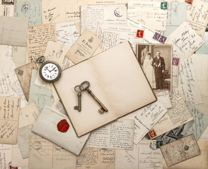 antique letters and postcards, old weding photo