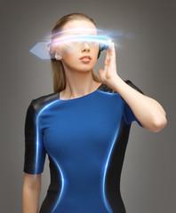 woman in futuristic glasses