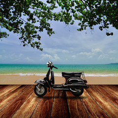 Scooter Scooter on the beach, Travel in summer time concept