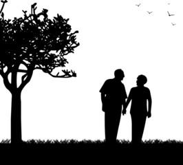 Lovely retired elderly couple walking in park silhouette