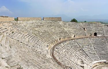 Ancient amphitheater near Pamukkale in Hierapolis, Turkey