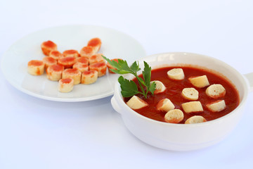 Croutons and sauce