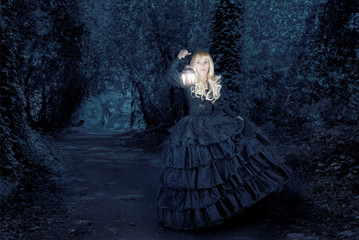 Fantasy woman travelling at night
