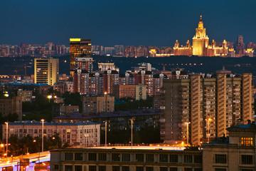 illuminated city in summer night