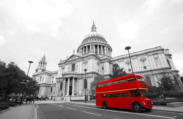 Acrylic Prints London red bus London Routemaster Bus, St Paul's Cathedral