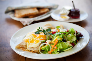 cheesy crepes and a fresh salad