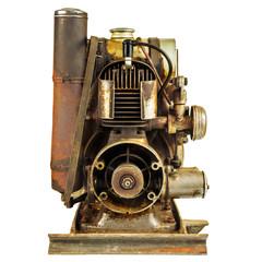 Old rusty motor engine isolated on white