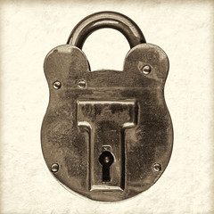 Retro styled image of an antique brass padlock