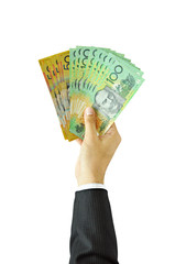 Businessman giving money - Australian dollars