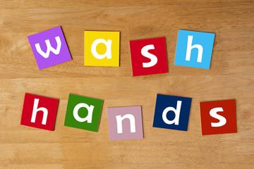 wash hands ! - word sign series for school children.