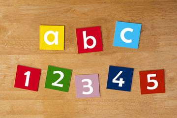 abc & 1 2 3 4 5 - word sign series for school children.