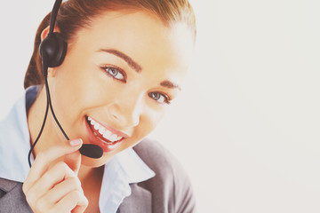 woman customer service agent proffessional telephone worker
