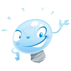 A happy cartoon bulb character presenting