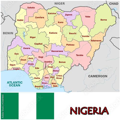 Nigeria Africa emblem map symbol administrative divisions Stock