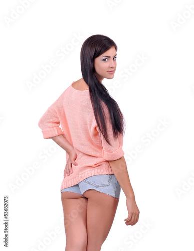 фото девушек в голубых шортиках