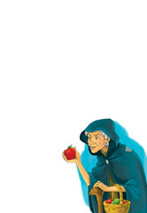 Cartoon character - old lady - isolated - giving or selling apples - illustration for children