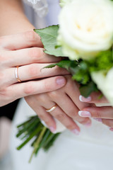 Hands with rings of a wedding couple