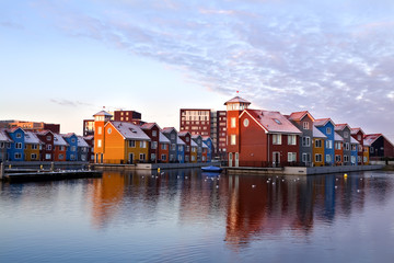 Wall Mural - colorful buildings on water at Reitdieohaven