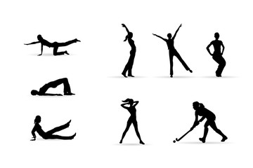 Sport, fitness woman silhouettes