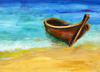 Boat on the beach, oil painting on canvas
