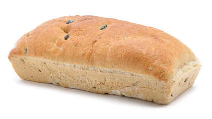 Loaf of bread with black olive isolated on white background