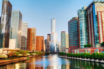 Printed roller blinds Chicago Chicago downtown with Trump International Hotel and Tower in Chi