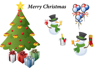Clip art of a christmas tree, snowmen, balloons and presents .